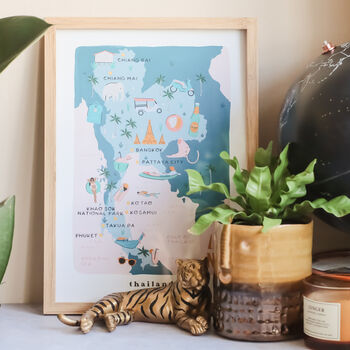 Thailand Inky Illustrated Map Print