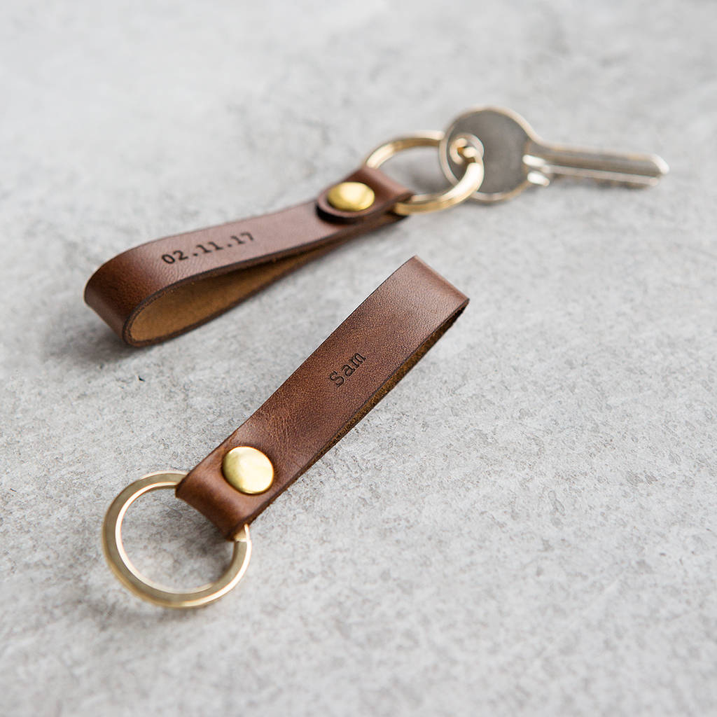 Personalised Leather Loop Keyring Gifts For Him