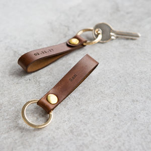 Personalised Leather Loop Keyring - gifts for him sale