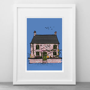 Personalised Cute House Or Cottage Illustrated Portrait
