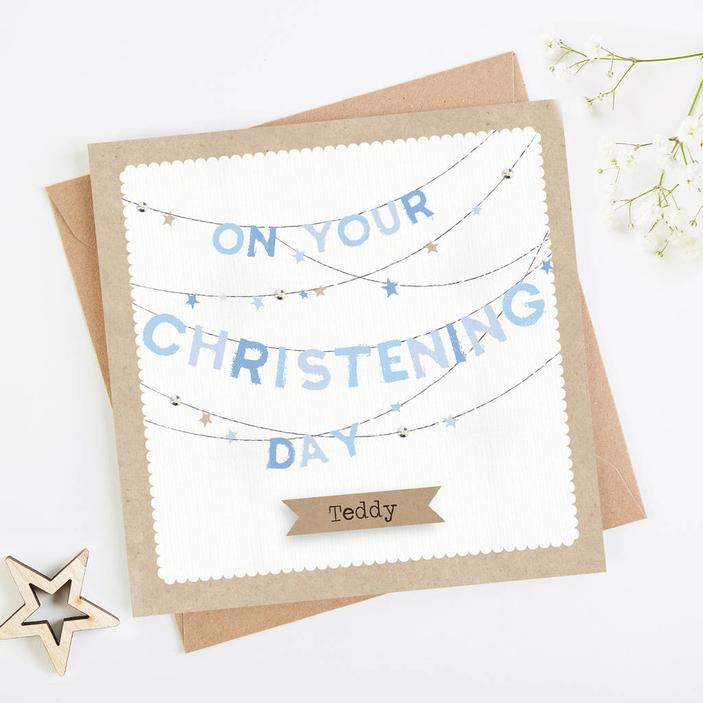 Personalised Blue Christening Day Bunting Card Boy