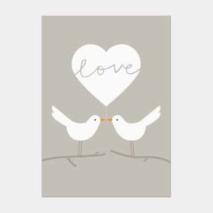 Love Doves Postcard Grey