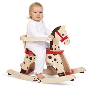 Personalised Natural Wood And Red Rocking Horse - ride on & rocking toys