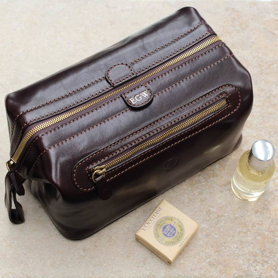 6891615325 personalised leather men wash bag.  the duno large  by maxwell scott ...