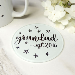 Personalised Grandfather Star Glass Coaster - 60th birthday gifts