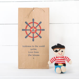Personalised Gift Bag With Pirate Rattle