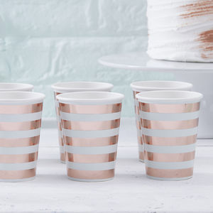 Rose Gold Foiled Baby Shower Paper Party Cups