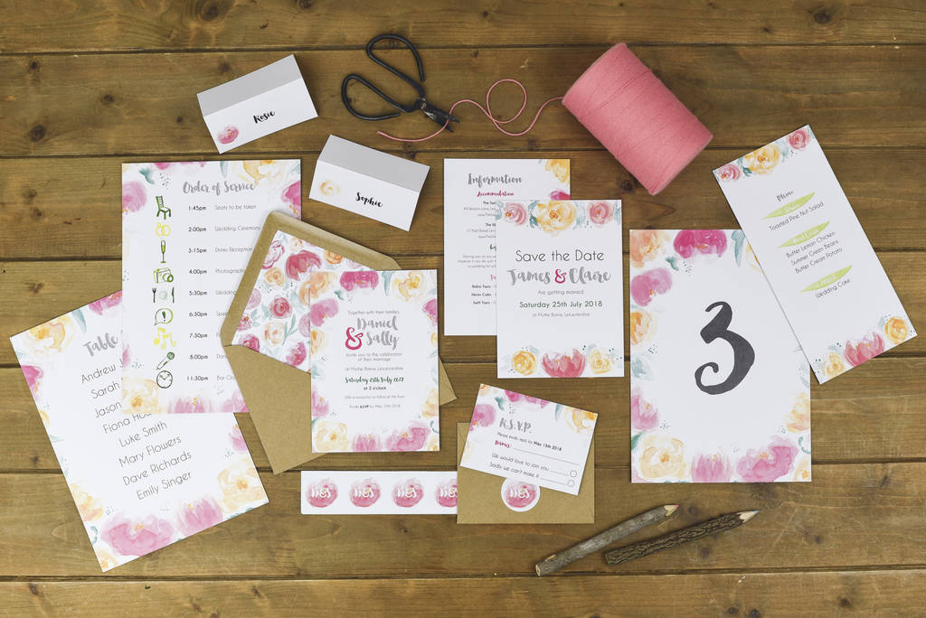 blush floral wedding place name cards by alexia claire