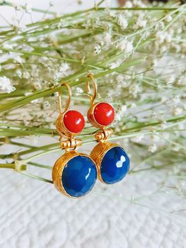 Hanifeh Blue And Red Earrings