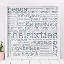 50th Birthday Gift; 'The Sixties' Large Paper Print