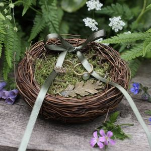 Oak Leaf Mossy Nest Wedding Ring Dish - enchanted wedding trend