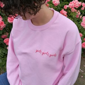 Personalised Hand Embroidered Pink Sweatshirt