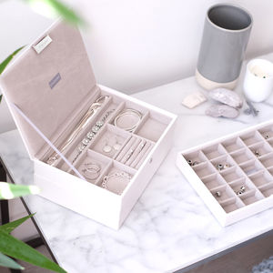 White Classic Velvet Lined Jewellery Box - gifts for her