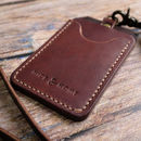 Leather ID Holder With Personalised Lanyard