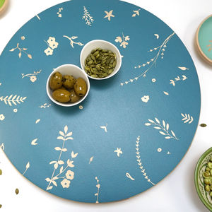 Hand Painted Lazy Susan Serving Board, Hedgerow Design