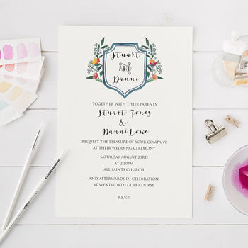 Wedding Invitation With Water Colour Crest