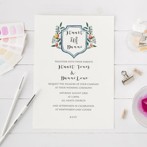 Wedding Invitation With Water Colour Crest - new in wedding styling