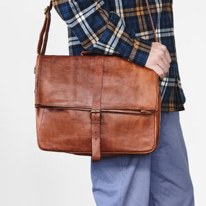 Roll Top Leather Messenger Bag