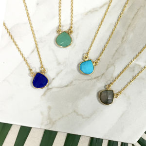Gold Semi Precious Teardrop Gemstone Necklace - necklaces & pendants