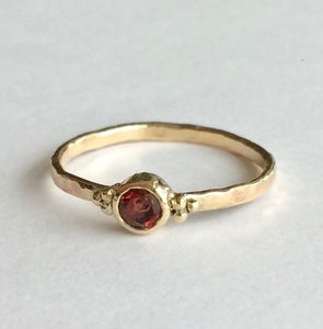 9ct Yellow Recycled Gold Ring With Red Orange Garnet