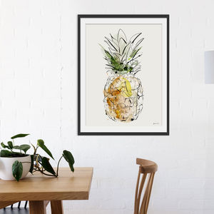 Pineapple Watercolour Illustrative Art Print