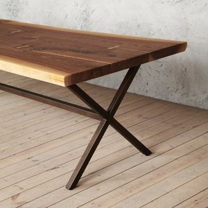Chelsea X Shaped Live Edge Walnut Dining Table - dining tables