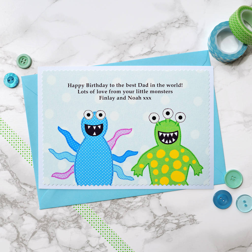 Personalised Birthday Card For Dad Daddy Grandad Etc From Their Little Monsters