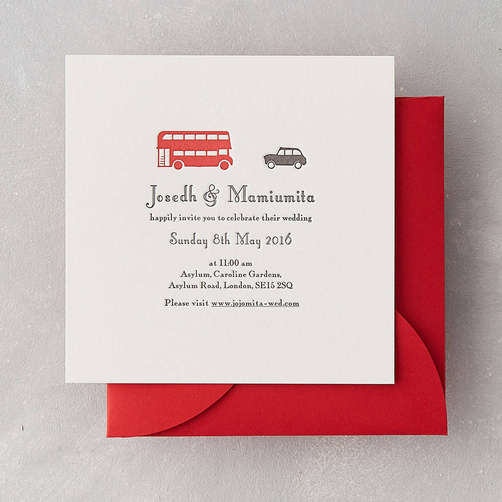 london taxi letterpress wedding invitation by wolf & ink ...