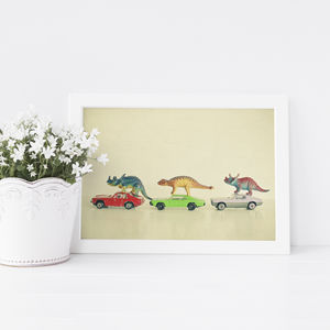Dinosaurs Ride Cars Retro Children's Print - children's room