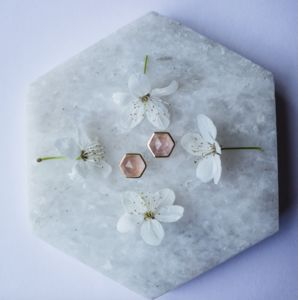 14k Gold Vermeil Hexagon Studs In Rose Quartz - earrings