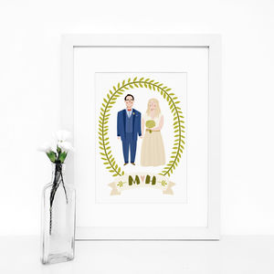 Personalised Illustrated Wedding Portrait Print - people & portraits