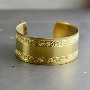 Wide Cuff Bangle With Textured Floral Edges