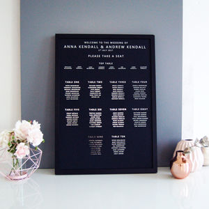 Large Black And Silver Wedding Seating Table Plan Chart
