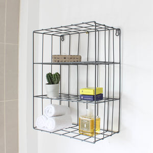 Wire Three Shelf Wall Unit - storage & organisers