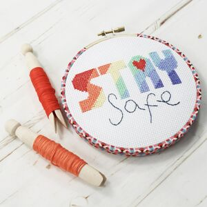 Stay Safe, Rainbow Cross Stitch, Wall Hanging Kit