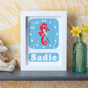 Personalised Framed Marine World Clock - gifts for babies