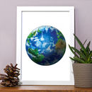 Planet Earth Print Painting Illustration