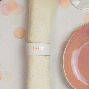 Wedding Place Setting, Napkin Ring And Drink Marker