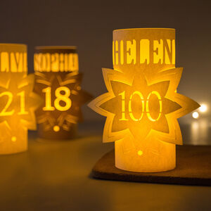 100th Birthday Personalised Star Lantern Centrepiece