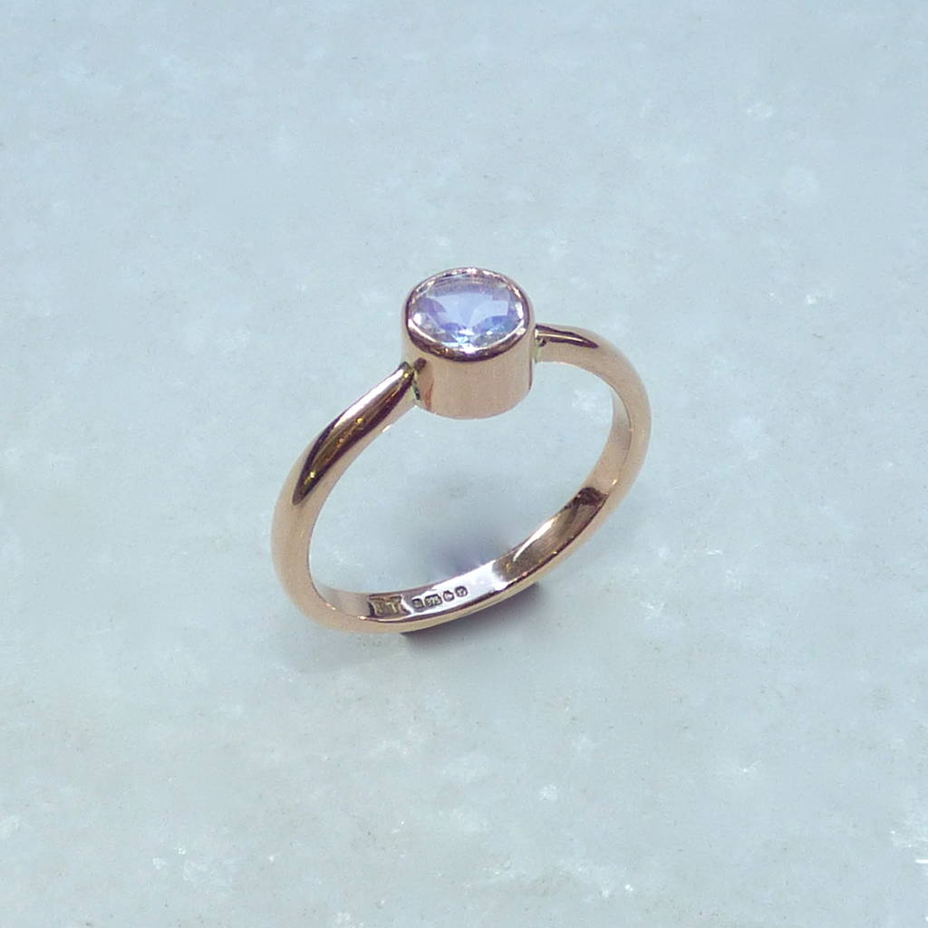 9ct rose gold and moonstone engagement ring by kirsty