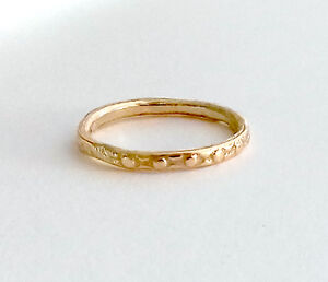Skinny 9ct Gold Textured Wedding Ring Or Stacking Ring