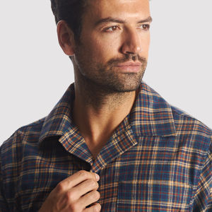 Men's Dark Blue Check Brushed Cotton Pyjamas - nightwear