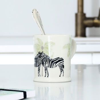Illustrated Zebra And Palm Mug