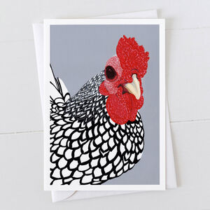 Silver Laced Wyandotte Cockerel Greeting Card