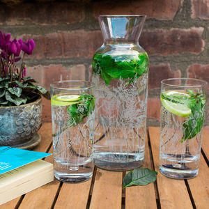 Floral Glass Hi Ball And Carafe Set