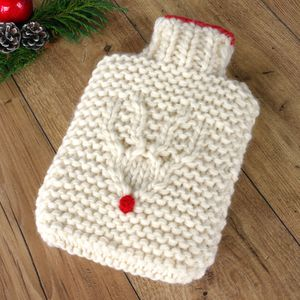 Hand Knit Reindeer Hot Water Bottle - hot water bottles & covers