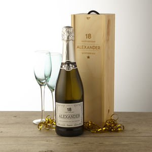 18th Birthday Personalised Prosecco And Wooden Gift Box - champagne & prosecco