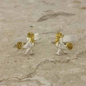 Rooster Cufflinks In Silver And Gold - men's accessories