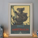 Vintage Koala Bear Australia Art Deco Travel Poster