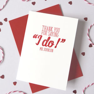 Personalised Watercolour Thanks For Saying 'I Do' Card